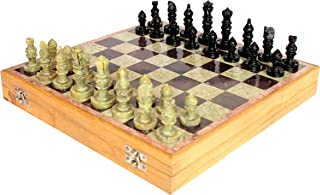StonKraft 12x12 Stone Wooden Chess Game Board Set + Hand Crafted Pawns