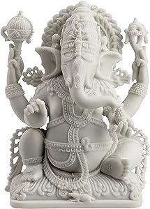 JFSM INC Rare Ganesh Lord of Prosperity & Fortune Statue White Finish