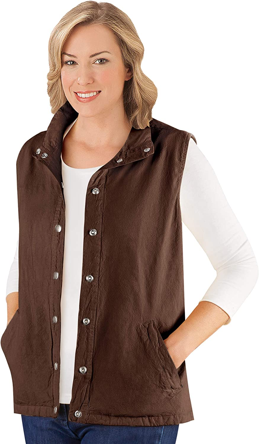 Snap Front and Cinch Back Sleeveless Vest with Front Slant Pockets - Flattering Layering Piece for Outfit