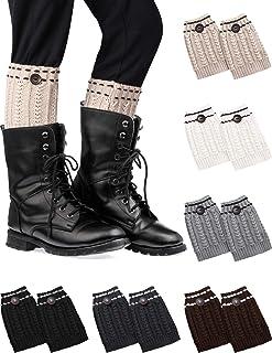 SATINIOR, 6 Pares de Calcetines de Botas Cortas para Mujer Calcetines de Punto Cortos de Ganchillo Cálido Calentador de Pierna