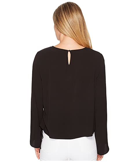 Rich Blusa Black Cordón lateral Manga Vince Suave Campana Camuto textura Z8WfU