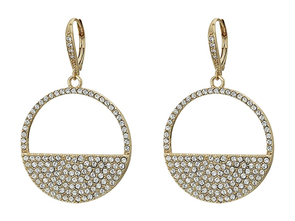 Nina Cut Out Disk Pave Earrings (Gold/White Swarowski) Earring, Silver