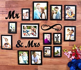 Art Street MDF Plaque You Me Infinity -Mr and Mrs Individual Wall Photo Frame for Couples (6-6X8, 6-4X6, 2-8X10, Black) - Set of 14
