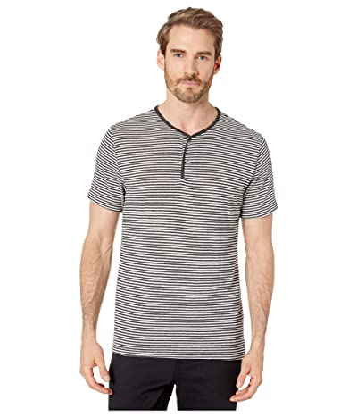 Alternative Short Sleeve Throwback Henley (Eco Black Classic Stripe) Men