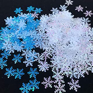 Snowflakes Confetti for Christmas Wedding Birthday Holiday Winter Wonderland Frozen Party happy new year Arts Crafts Decorations Supplies White & Blue - 300PCS