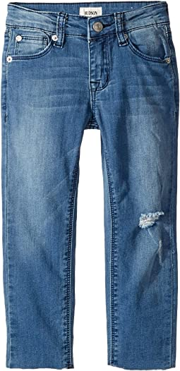 Five-Pocket Raw Hem Ankle Skinny - French Terry in Second Hand Blue (Toddler/Little Kids)