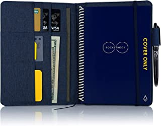 Folio Cover for Rocketbook Fusion, Everlast, Wave, One Executive Size, Waterproof Fabric, Multi Organizer with Pen Loop, Business Card Holder, Ultra Slim, fits A5 Size Notebook, 9.4 x 6.3 inch, Blue