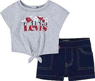 Levi's Kids - Set pour Bébé Fille Shortalls et Tee Shirt