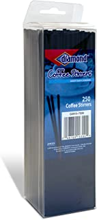Diamond 250-Count Coffee Stirrers/Straws, Black, Pack of 10 (2500 total)