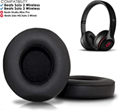 Wicked Cushions Beats Solo 2 & 3 Earpad Replacement - Beats Solo Cushion Replacement for Solo 2 & 3 Wireless On Ear Headphones | Black