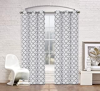 2 Pack: Regal Home Collections Premium Trellis Grommet Curtain Panels - Assorted Colors (Gray)