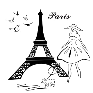 BooDecal Romantic Paris Eiffel Tower Quote Wall Stickers Beauty Women with Puppy Black Silhouette Vinyl Wall Decals Mural for Living Room Girls Bedroom Kitchen Decorator 22 Inches x 22 Inches