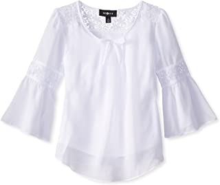 Girls' Big Bell Sleeve Top with Lace Inset