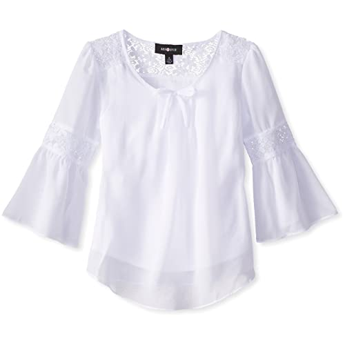 3cb7dd2b06c Amy Byer Girls  Big Bell Sleeve Top with Lace Inset