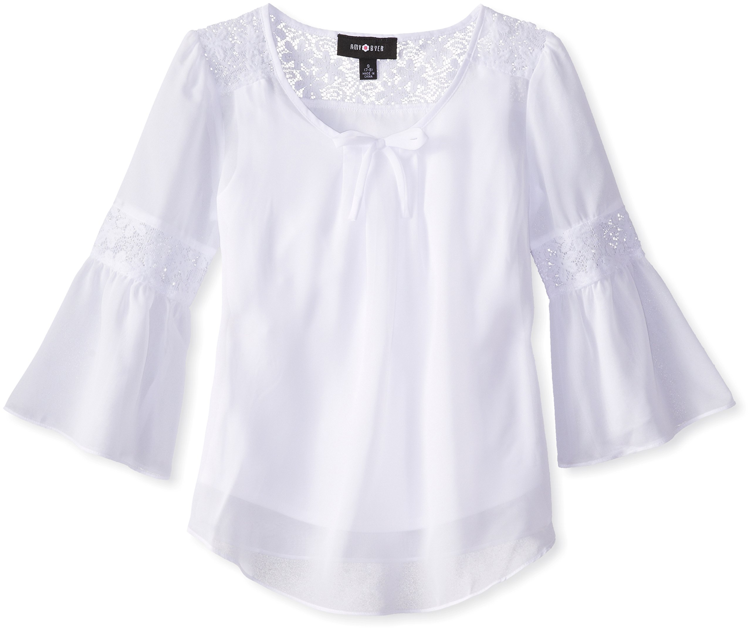 Girls' Bell Sleeve Top with Lace Inset