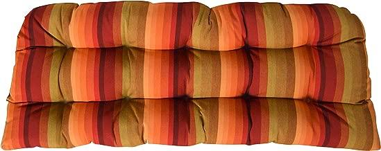 RSH DECOR Sunbrella Astoria Sunset Wicker Love Seat Cushion - Indoor/Outdoor Wicker Loveseat Settee Tufted Cushions