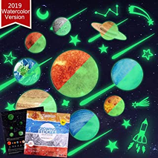 TEPSMIGO 68pcs Glow in The Dark Stars and Planets Wall Stickers, 9 Planets + 28 Stars + 12 Shooting Stars + 19 Constellation Symbols, Bright Solar System Boys Room Decor Glowing Ceiling Decals for Kid