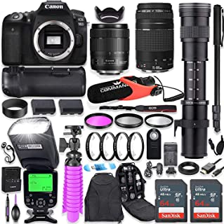 Canon EOS 90D DSLR Camera Kit with Canon 18-135mm & 75-300mm Lenses + 420-800mm Telephoto Zoom Lens + Battery Grip + TTL Flash (Upto 180 Ft) + Mic + 128GB Memory + Commander Optics Accessory Bundle
