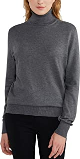 Woolicity Women's Turtleneck Knit Sweater Long Sleeve Cozy Warm Tops Ribbled Casual Lightweight Pullover