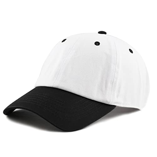 5857af00b7e THE HAT DEPOT Unisex Blank Washed Low Profile Cotton and Denim Baseball Cap  Hat (White