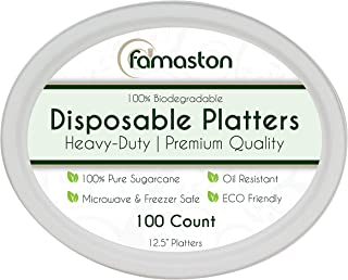 100% Compostable White Oval 12.5-inch Paper Platters, 100-Plates, Heavy-Duty Premium Quality Disposable Dinner Plate