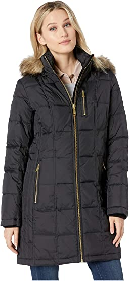Zip Front Down with Zip Pocket at Top and Faux Fur Trim Hood M821883GZ
