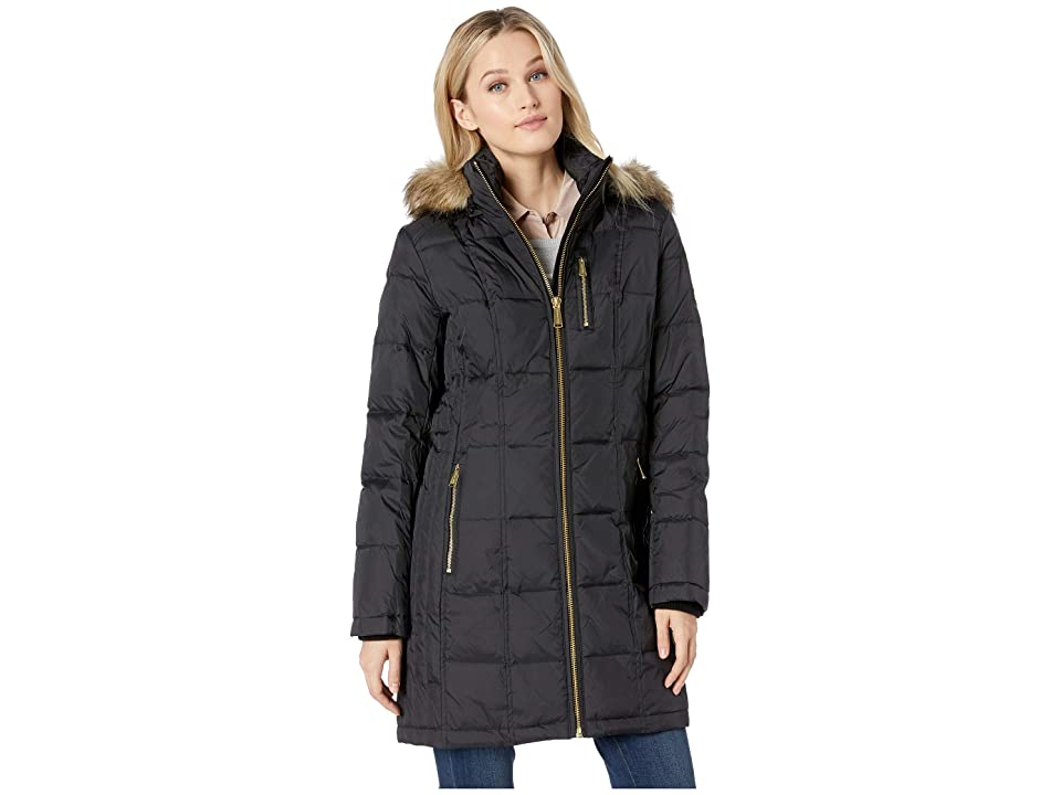 MICHAEL Michael Kors Zip Front Down with Zip Pocket at Top and Faux Fur Trim Hood M821883GZ (Black) Women
