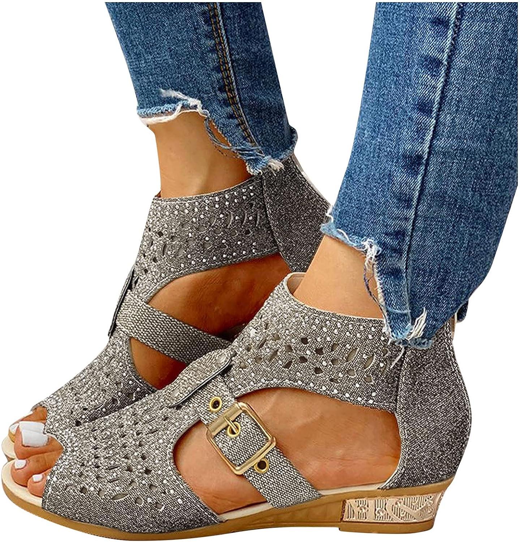 FABIURT Sandals for Women Casual Summer,Womens Fashion Crystal Sandals Casual Summer Roman Beach Sandal Flip Flops Shoes