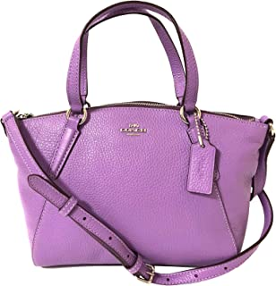 Coach Pebble Leather Mini Kelsey Satchel Crossbody Handbag (SV/Iris)