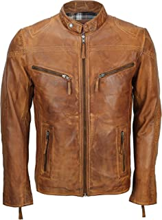 Xposed Mens Fitted Tan Brown Soft Real Leather Biker Jacket Vintage Zipped Smart Casual Coat