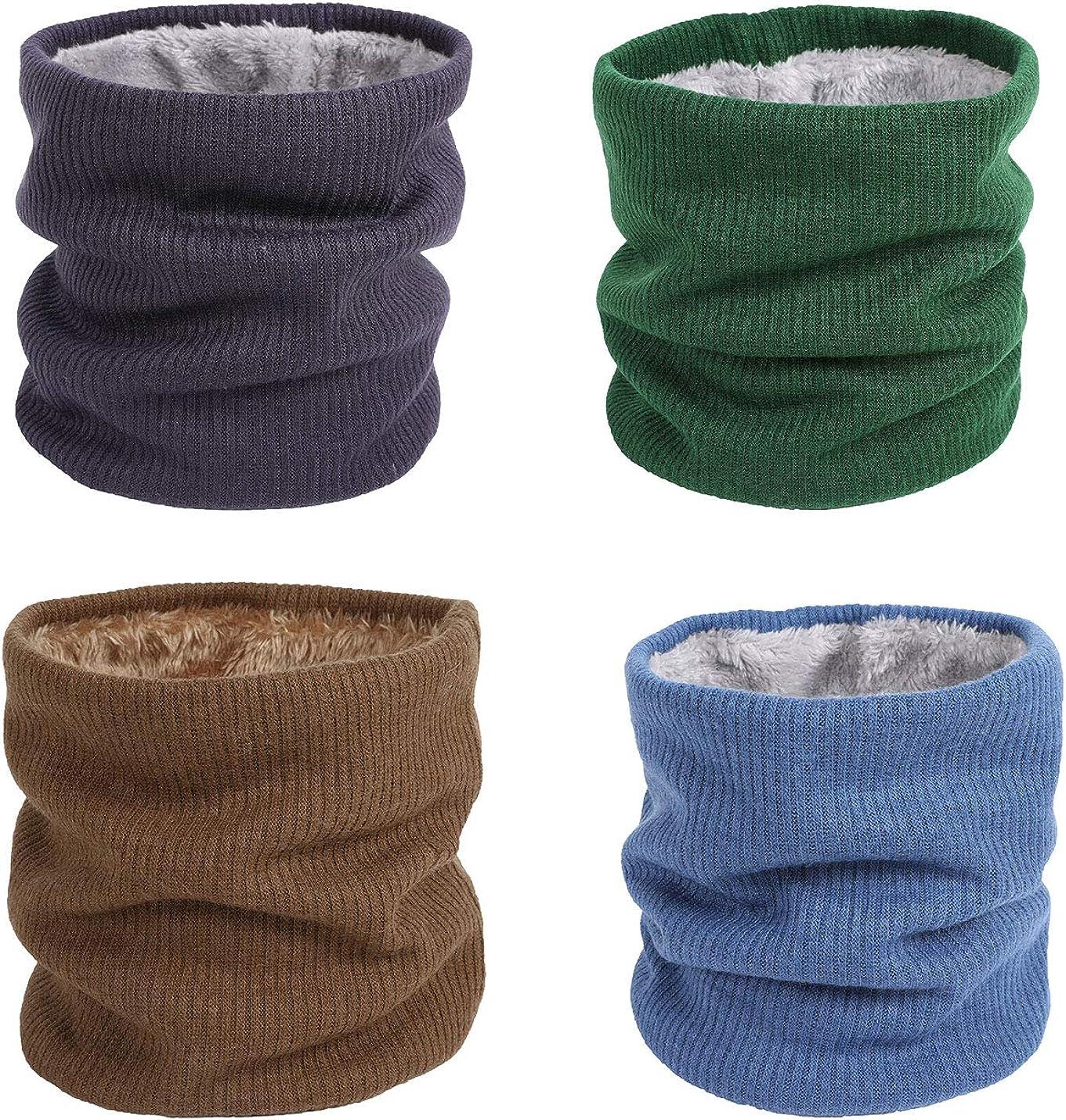 Flygo Women's Unisex Neck Warmer Fleece Lined Knit Circle Loop Scarf Gaiters