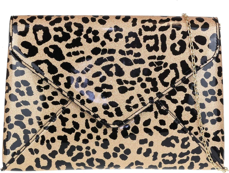 Girly HandBags Envelope Leopard Clutch Bag
