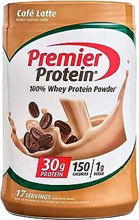 Premier Protein Powder, Café Latte, 30g Protein, 1g Sugar, 100% Whey Protein, Keto Friendly, No Soy Ingredients, Gluten Fr...