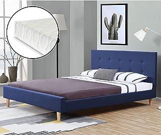 Lit Rembourré Moderne Robuste avec Sommier à Lattes Lit Double Solide Confortable Housse en Lin avec Matelas Mousse à Froi...