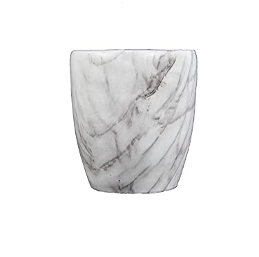 "Admired By Nature 3"" Orchid Pot with White Marble Design, White & Grey"
