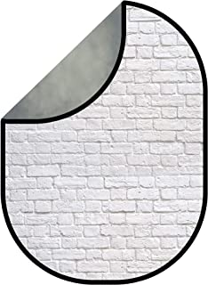 Kate 5x6.5ft(1.5x2m) Double-Sided Backdrop Dark Grey Texture White Brick Wall Collapsible Backgrounds Twist Flex Colapsable Photography Backdrop