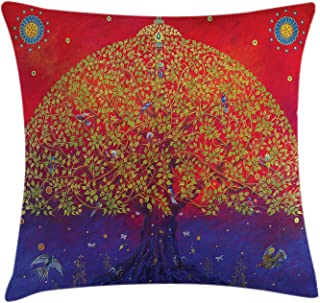 Ethnic Throw Pillow Cushion Cover, Bodhi Tree of Life Themed Eastern Growth Artwork Print, Decorative Square Accent Pillow Case, 24