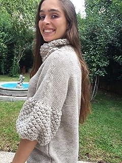 Jersey de lana con acrílico, color beige, tejido a mano, talla S-M, para chica o mujer