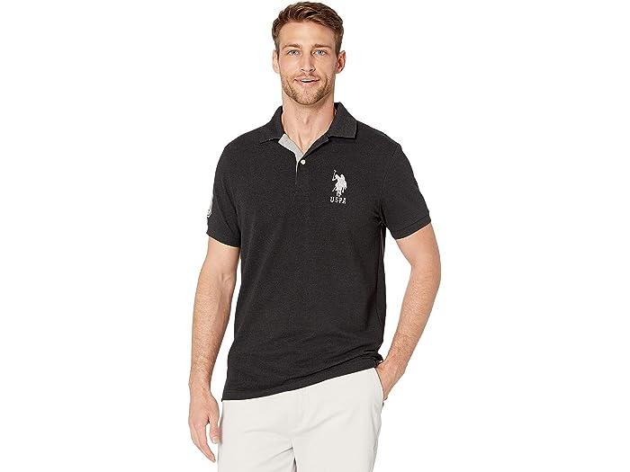 U.S. POLO ASSN. Slim Fit Big Horse Polo w/ Stripe Collar
