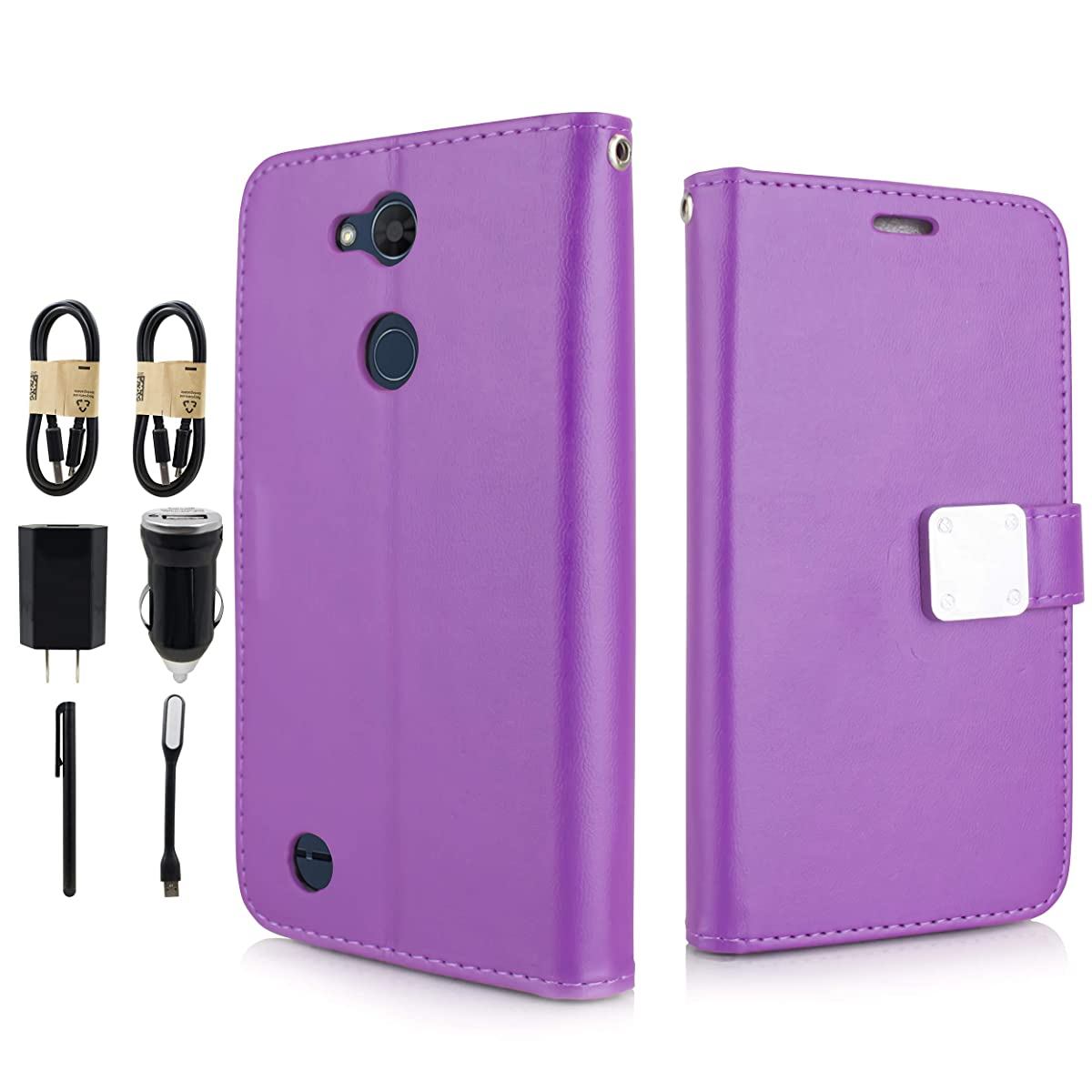 for LG X Power 3, Magnetic Fold Stand Flip Wallet Pouch Credit 5 Cards Slot, 1 id Cover w/Strap for LG X Power 3 [Value Bundle] (Purple)