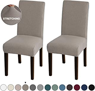 Turquoize Dining Room Chair Covers Stretch Dining Chair Slipcover Parsons Chair Covers Chair Furniture Protector Covers Removable Washable Chair Cover for Dining Room, Hotel, Ceremony (2, Taupe)
