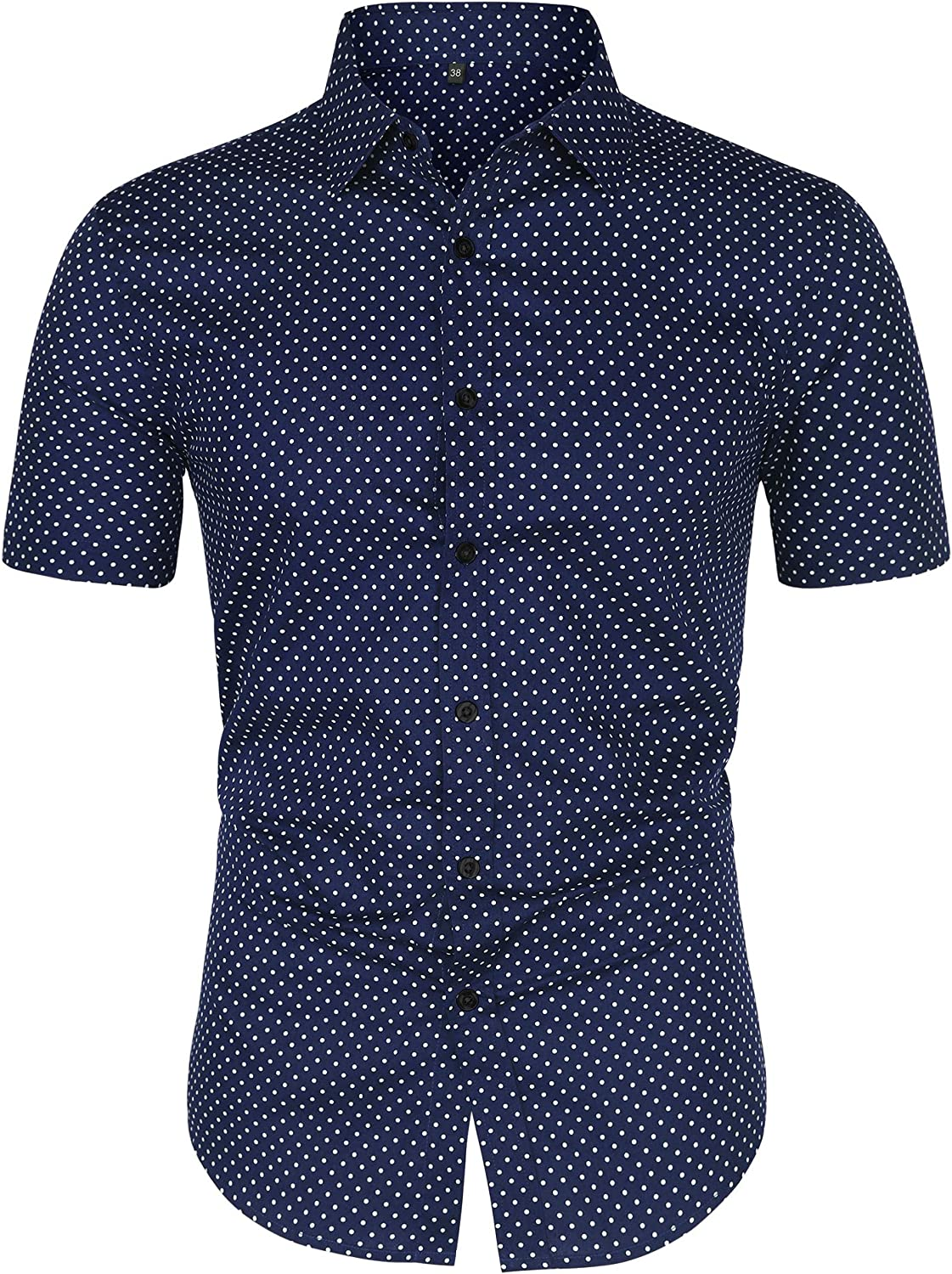 lowest price Max 56% OFF uxcell Men's Printed Cotton Dress Polka Sleeves Short Dots Butto