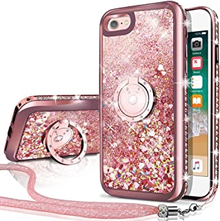iPhone 6S Plus Case, iPhone 6 Plus Case, Silverback Moving Liquid Holographic Sparkle Glitter Case with Kickstand, Bling Diamond Rhinestone Bumper W/Ring Protective Case for Apple iPhone 6/6S Plus RD