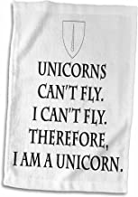 3D Rose Cant Fly. Therefore-I Am A Unicorn Hand Towel, 15 x 22