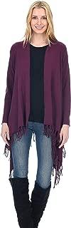 Fringe Shawl Style Open Cardigan Cashmere Wool Long Sleeve Draped Sweater for Women