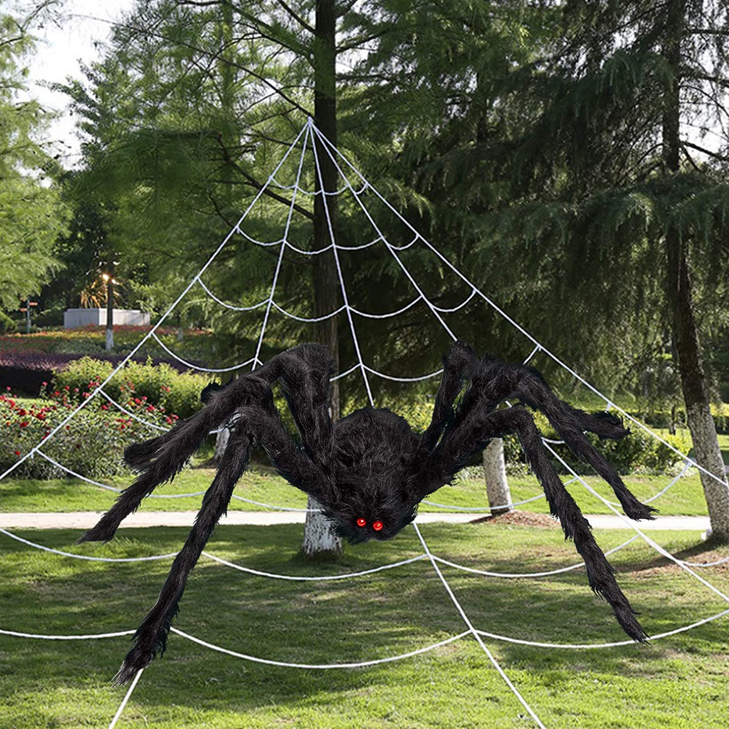 SEASONJOY 60'' Import Large-scale sale Halloween Giant Spider with 16FT Decorations Spid