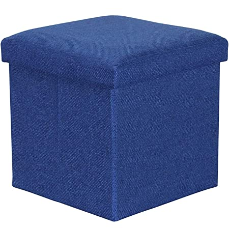 Sterling Kids Foldable Stools for Sitting in Living Room Storage Stools for Sitting Storage Box for Toys - (Blue, 38 x 38 x 38 cm)