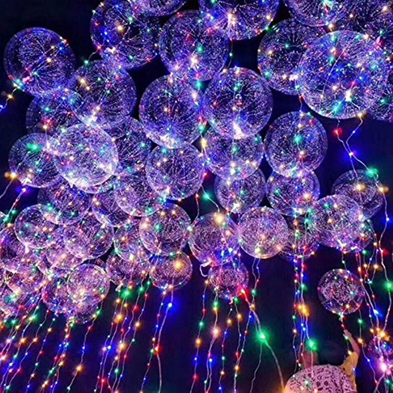 Vuelta de 10 dias Mystery&Melody 20pcs LED Bobo Globo Luces Luces Luces Reutilizable Lámparas Decoraciones para Festival Cumpleaños Fiesta Luminoso 18 pulgadas Luces de cadena (50PCS)  calidad oficial