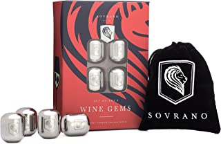 Sovrano Wine Gems - Set of 4 Stainless Steel Wine Chillers To Chill Wine or Your Favorite Beverage - Includes Gift Box & Storage Pouch - Wine Accessory Gift For Men & Women
