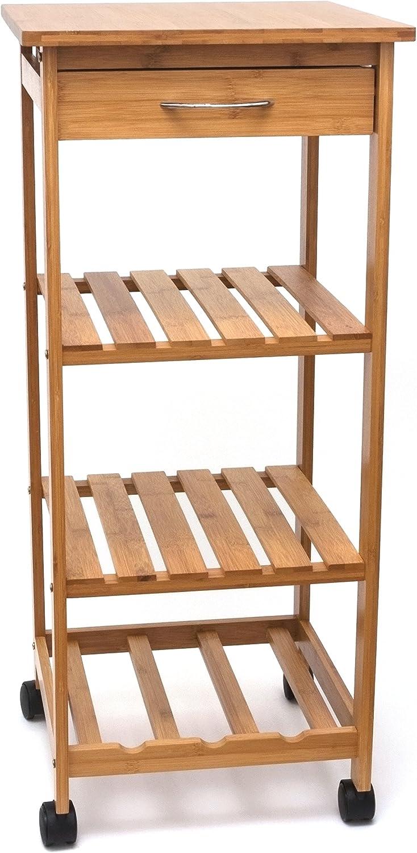 Lipper International 8914 Bamboo Wood Space-Saving Cart with 1 Drawer, 14.5  x 14.5  x 33.5